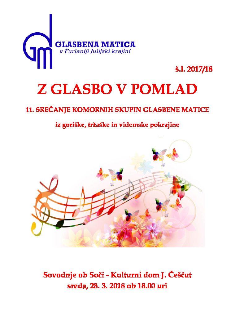 11.srečanje komornih skupin – 28.3.2018 ob 18.uri, kulturni dom J.Češčut, Sovodnje