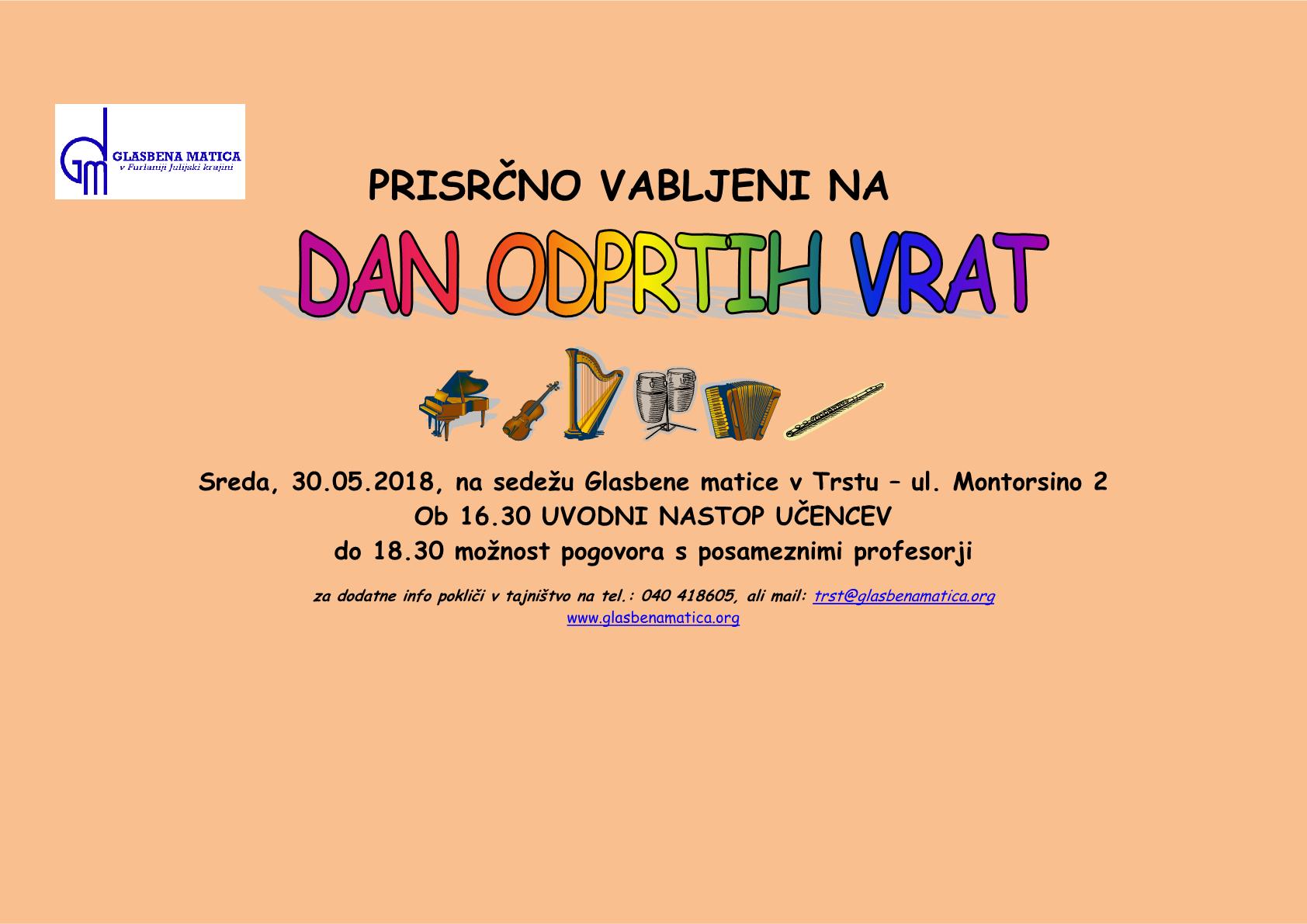 30.05.2018 ob 16.30 na sedežu Glasbene matice v Trstu