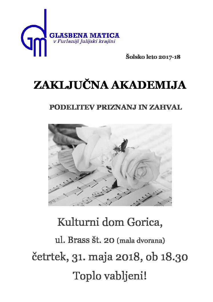 31.05.2018 ob 18.30 v Kulturnem domu v Gorici