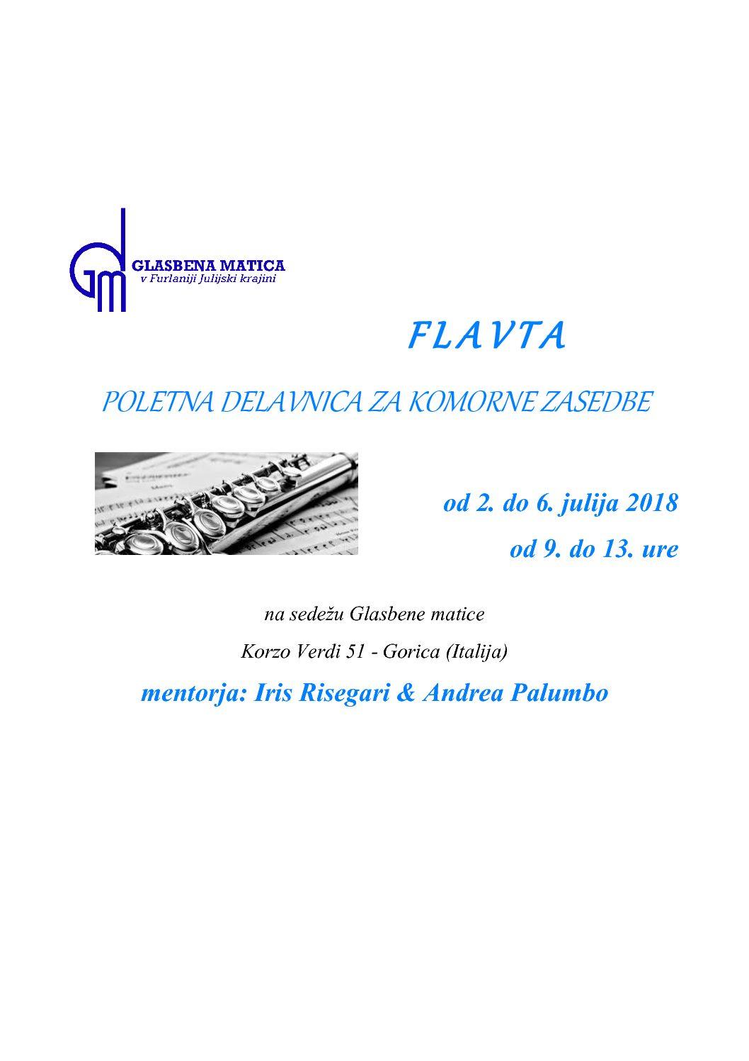 FLAVTA – POLETNA DELAVNICA ZA KOMORNE ZASEDBE  2.-6.7.2018