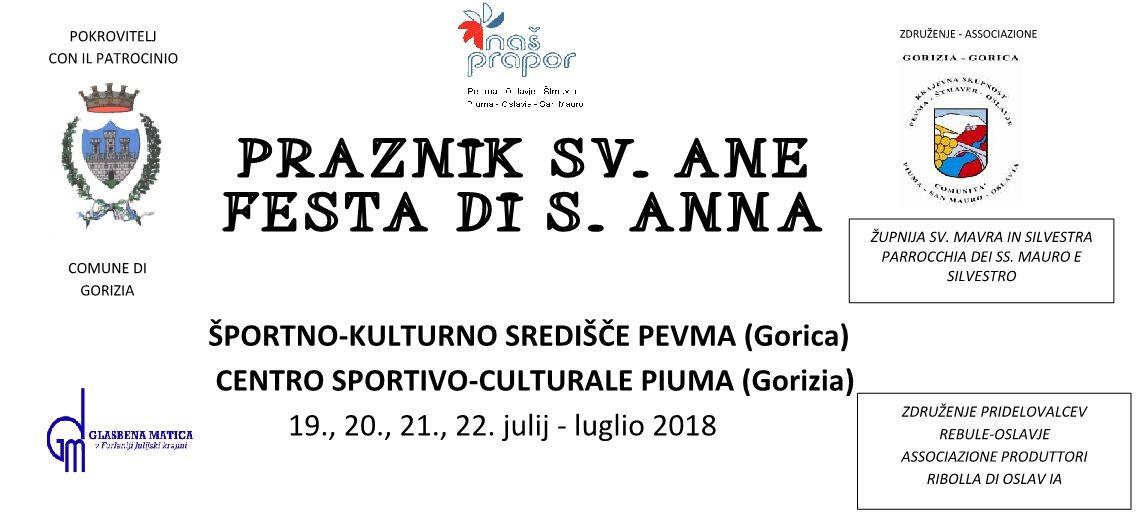 19.-22.07.2018 ob 19.00 uri – PRAZNIKU SV. ANE v PEVMI – FESTA DI S. ANNA A PIUMA