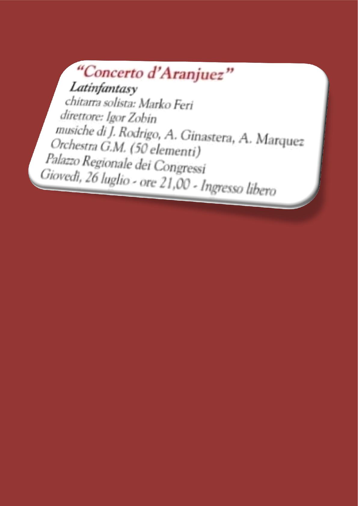 """26.7.2018 ob 21.00 uri -"""" Koncert d' Aranjuez"""" – Kongresna palača – Gradež"""