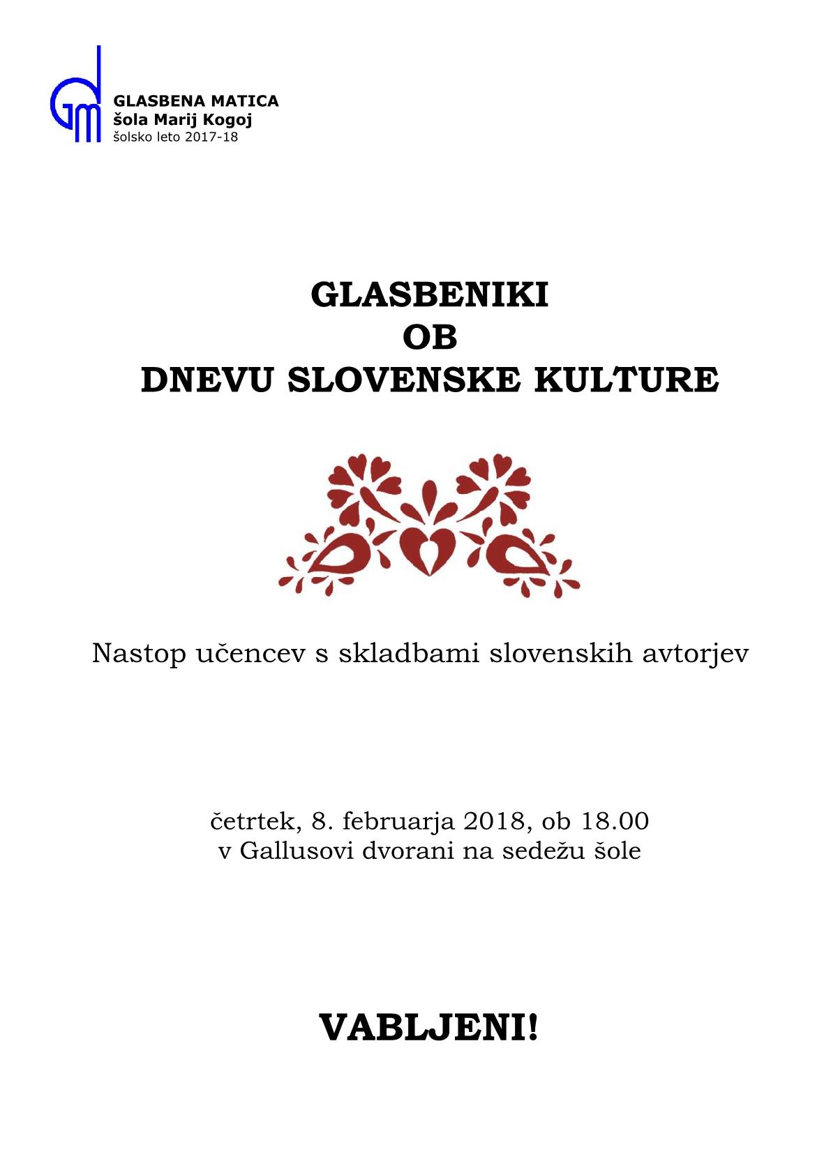 8.2.2018 ob 18.00 v Gallusovi dvorani na sedežu šole v Trstu