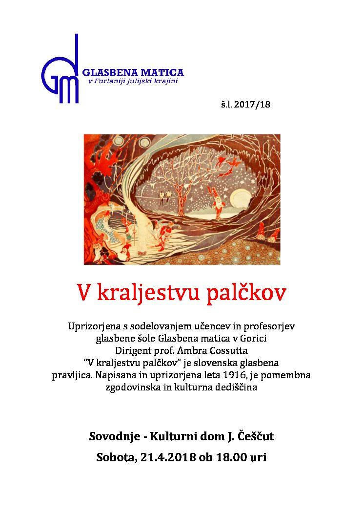V kraljestvu palčkov – 21.4.2018 ob 18.uri, kulturni dom J.Češčut, Sovodnje