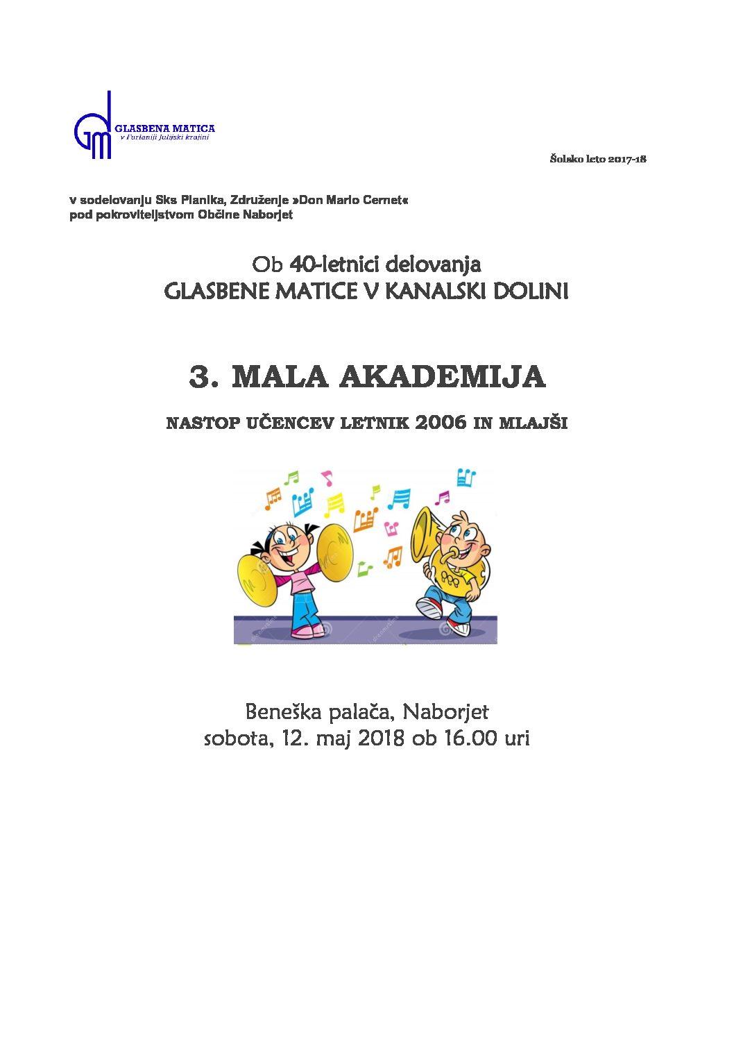 MALA AKADEMIJA-Beneška palača, Naborjet, 12.5.2018 ob 16.uri