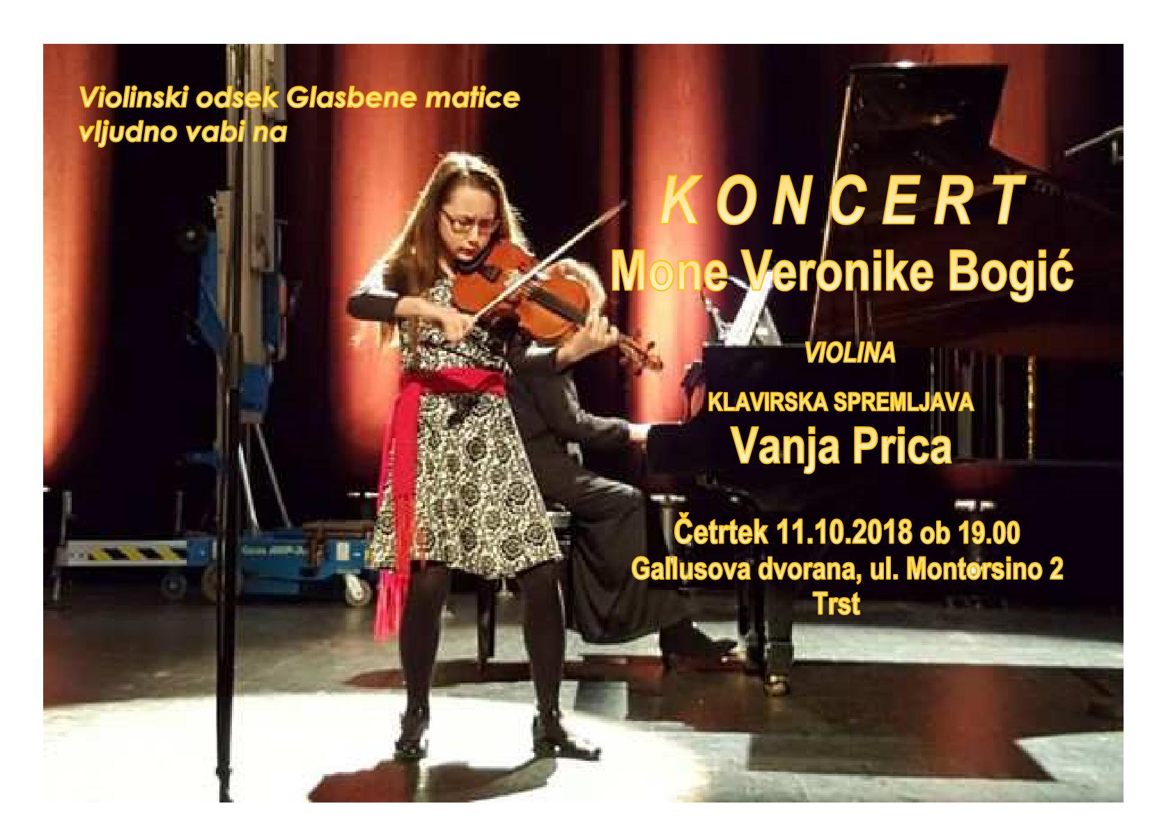 11.10.2018 ob 19.00 uri – koncert Mona Veronica Bogić – Gallusova dvorana – Trst