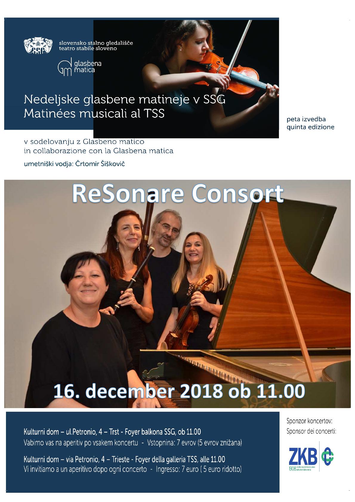 16.12.2018 ob 11.00 uri -GLASBENE MATINEJE- ReSonare Consort