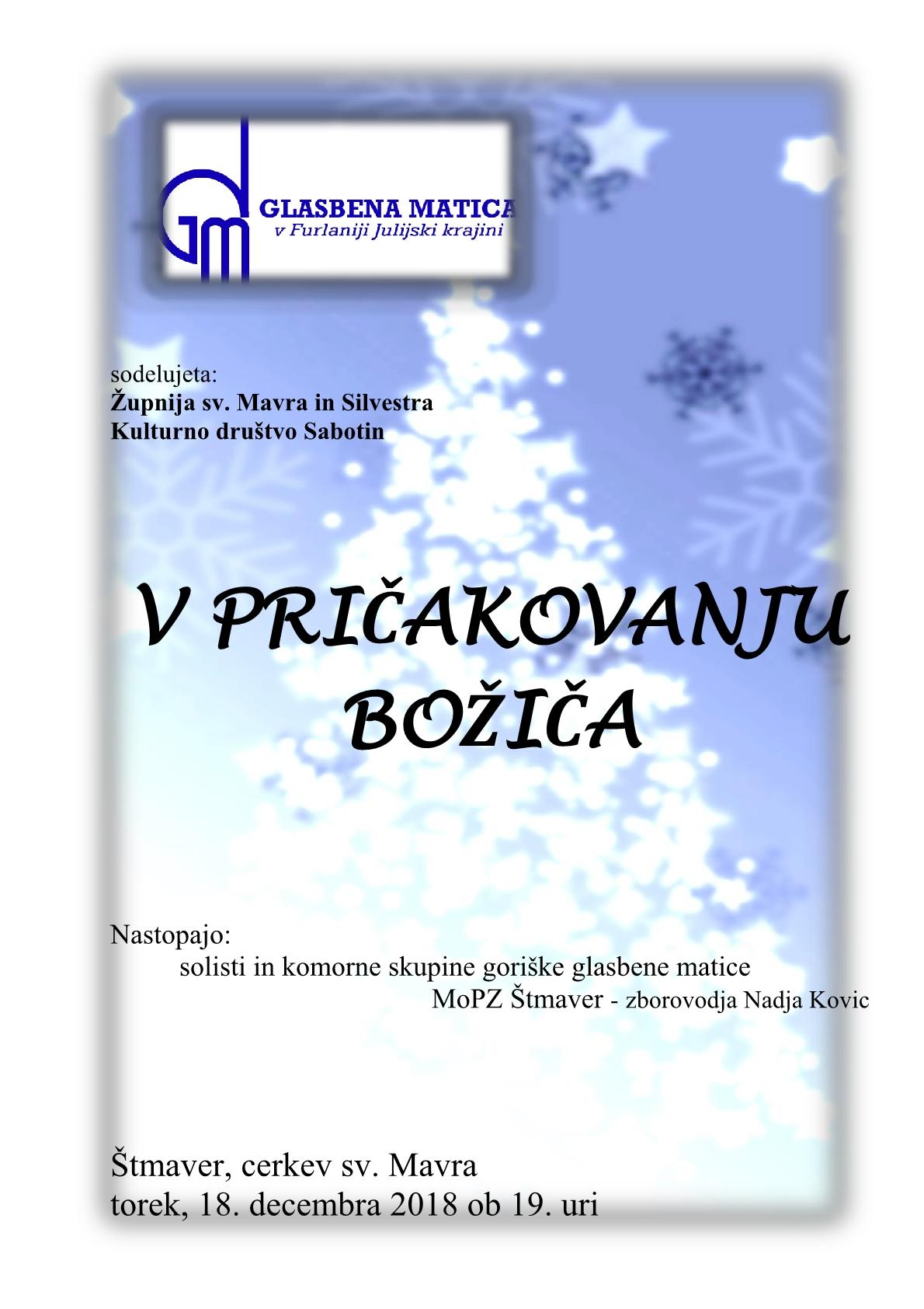 18.12.2018 ob 19.00 uri – Gorica – V PRIČAKOVANJU BOŽIČA
