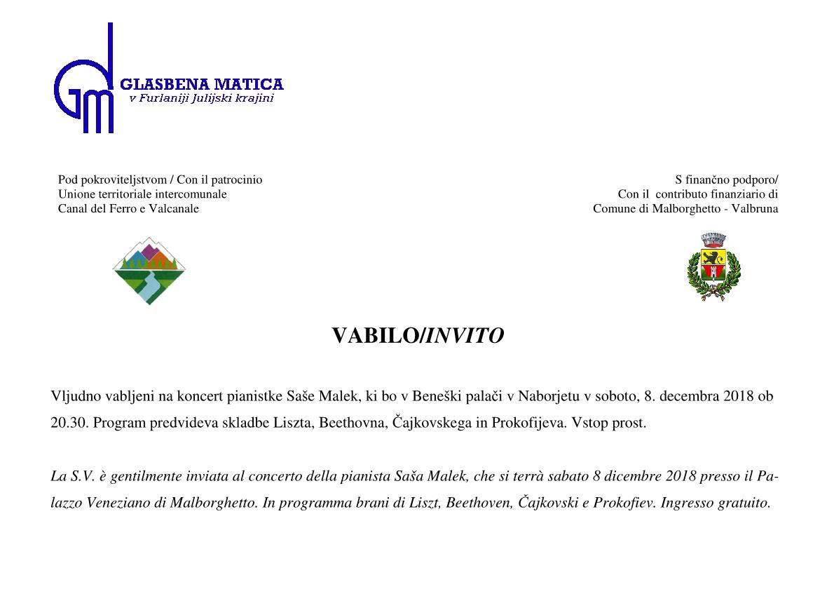 08.12.2018 ob 20.30  v Beneški palači  v Naborjetu