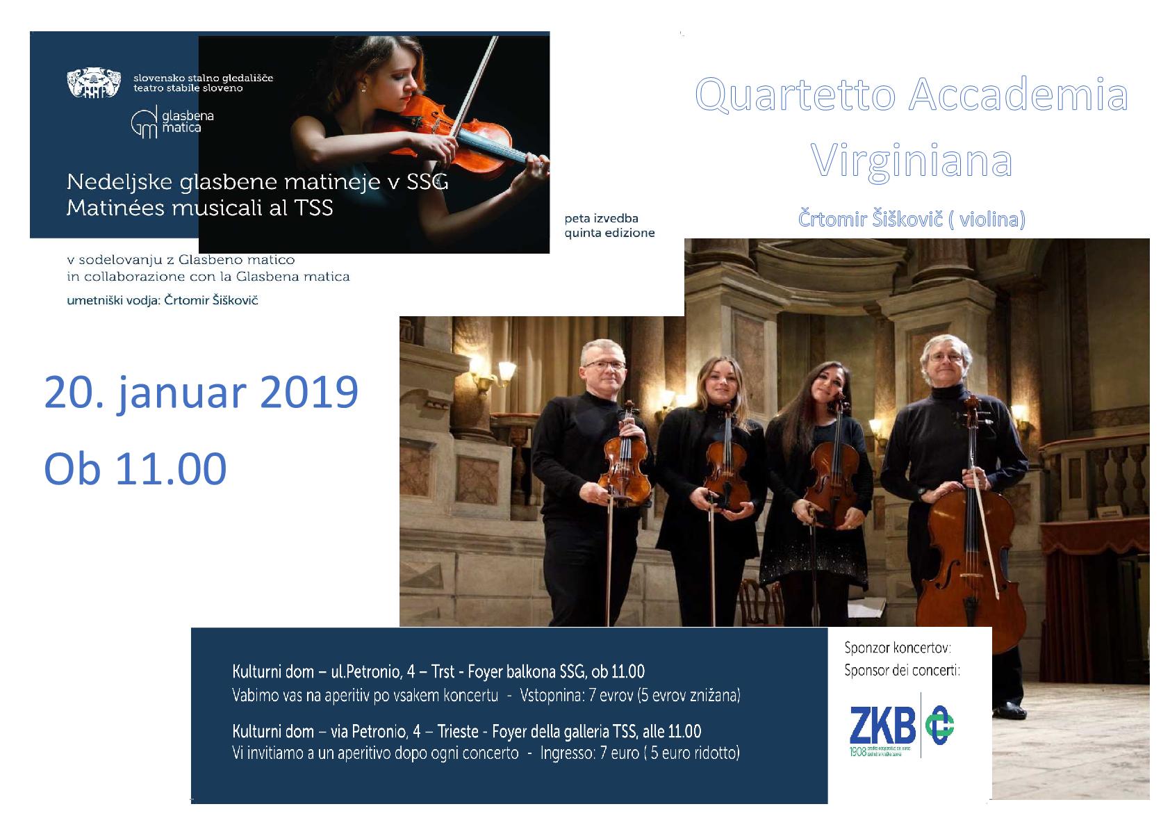 20.1.2019 ob 11.00 uri -GLASBENE MATINEJE- Quartetto Accademia Virginiana